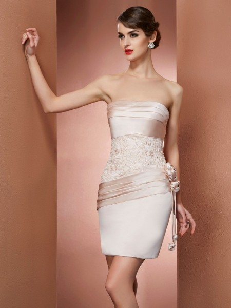 Sheath/Column Satin Strapless Sleeveless Short/Mini Hand-Made Flower Dresses
