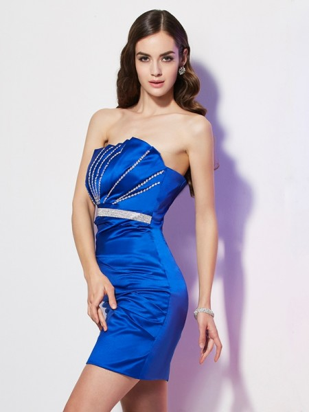Sheath/Column Satin Strapless Beading Short/Mini Sleeveless Dresses