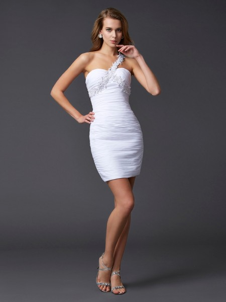 Sheath/Column Beading One-Shoulder Sleeveless Chiffon Short/Mini Dresses