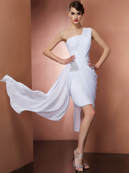 Sheath/Column One-Shoulder Sleeveless Beading Chiffon Short/Mini Dresses
