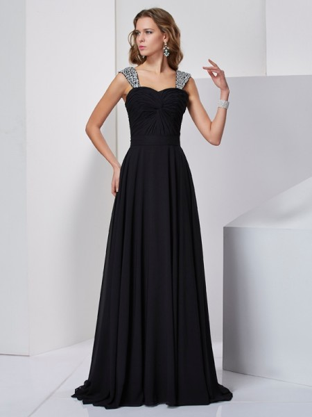 A-Line/Princess Chiffon Straps Beading Sweep/Brush Train Sleeveless Dresses