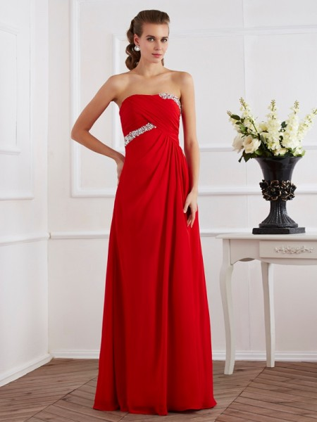 Sheath/Column Chiffon Strapless Sleeveless Floor-Length Beading Dresses