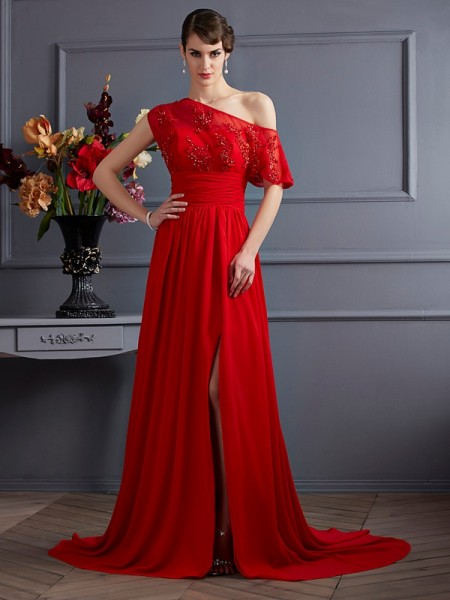 A-Line/Princess One-Shoulder Sleeveless Applique Chiffon Court Train Dresses