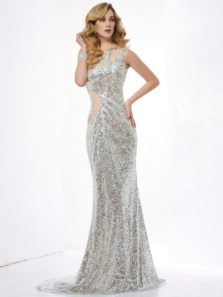 Trumpet/Mermaid One-Shoulder Lace Sweep/Brush Train Sleeveless Dresses