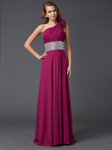A-Line/Princess Chiffon One-Shoulder Sleeveless Beading Sweep/Brush Train Dresses
