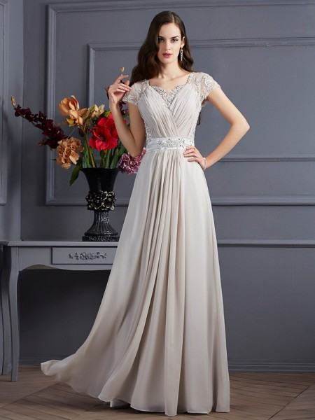 A-Line/Princess Beading Sweetheart Short Sleeves Floor-Length Chiffon Dresses
