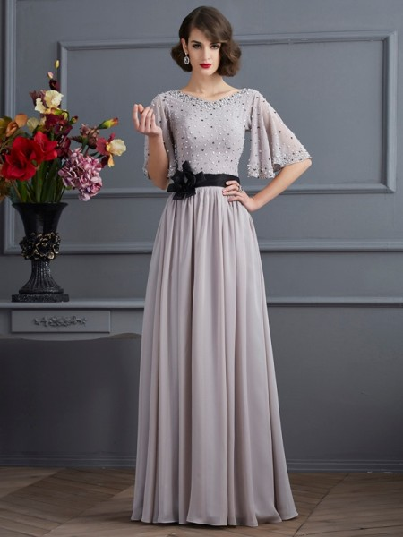 A-Line/Princess Chiffon High Neck 1/2 Sleeves Beading Floor-Length Dresses