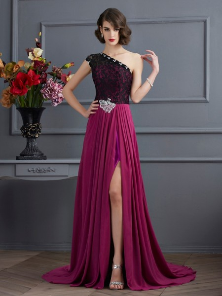 A-Line/Princess One-Shoulder Sleeveless Lace Chiffon Sweep/Brush Train Dresses