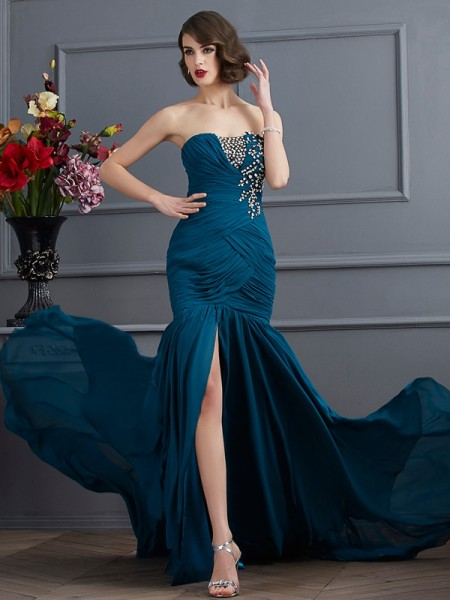 Trumpet/Mermaid Chiffon Strapless Sleeveless Sweep/Brush Train Beading Dresses