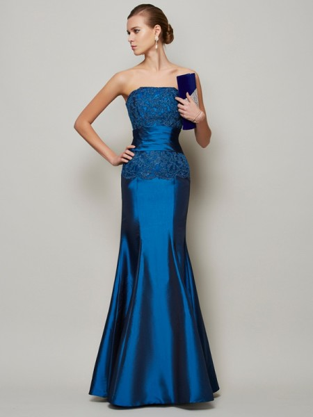 Trumpet/Mermaid Taffeta Beading Strapless Floor-Length Sleeveless Dresses