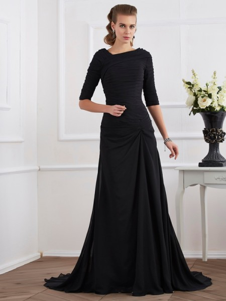 A-Line/Princess Pleats 1/2 Sleeves Chiffon Sweep/Brush Train Dresses