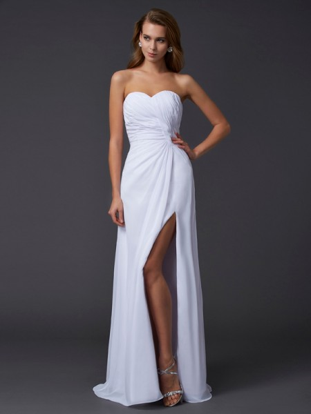 Sheath/Column Chiffon Sweetheart Sleeveless Pleats Floor-Length Dresses