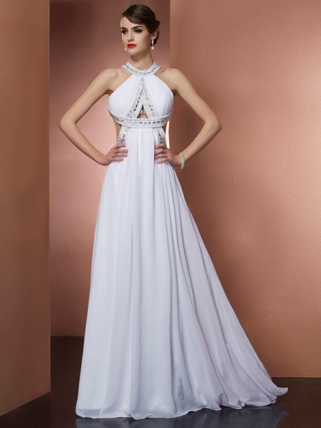 A-Line/Princess Bateau Sleeveless Beading Chiffon Sweep/Brush Train Dresses