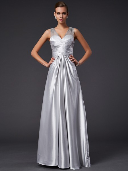 A-Line/Princess Elastic Woven Satin V-neck Sleeveless Floor-Length Beading Dresses