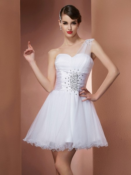 A-Line/Princess Satin One-Shoulder Sleeveless Beading Short/Mini Dresses