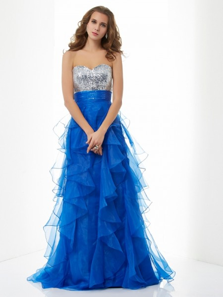 A-Line/Princess Satin Sweetheart Paillette Floor-Length Sleeveless Dresses