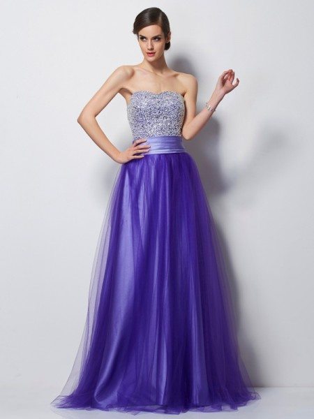 A-Line/Princess Satin Beading Sweetheart Sleeveless Floor-Length Dresses