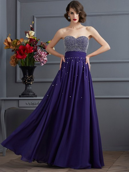A-Line/Princess Chiffon Sweetheart Beading Floor-Length Sleeveless Dresses