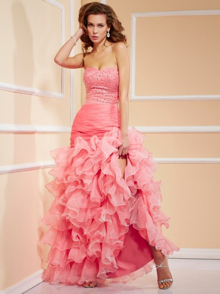 Trumpet/Mermaid Organza Sweetheart Sleeveless Beading Asymmetrical Dresses