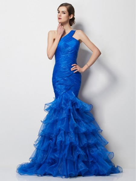 Trumpet/Mermaid Tulle One-Shoulder Sleeveless Sweep/Brush Train Pleats Dresses