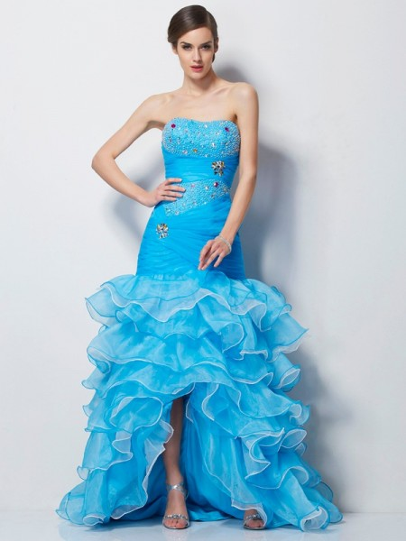 Trumpet/Mermaid Tulle Beading Sweetheart Asymmetrical Sleeveless Dresses