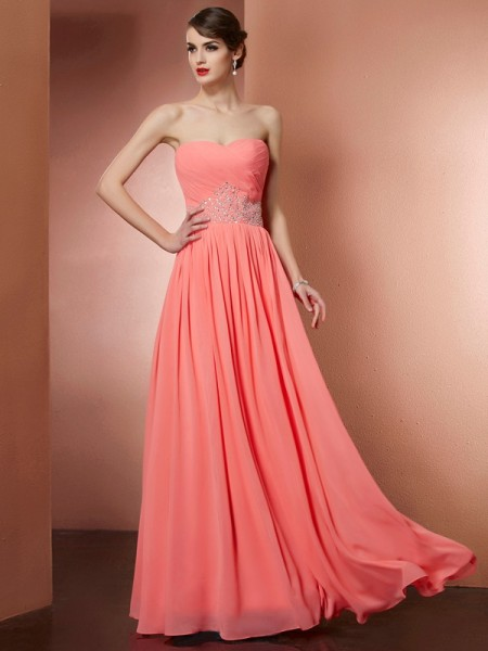 A-Line/Princess Chiffon Beading Strapless Sleeveless Floor-Length Dresses