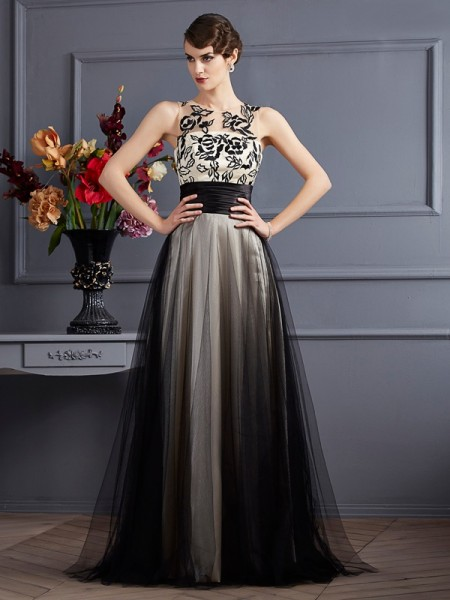 A-Line/Princess Scoop Silk like Satin Sleeveless Floor-Length Dresses