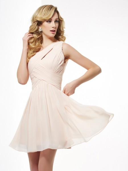 A-Line/Princess Chiffon One-Shoulder Pleats Short/Mini Sleeveless Dresses
