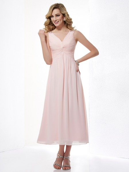 A-Line/Princess V-neck Sleeveless Beading Chiffon Tea-Length Dresses