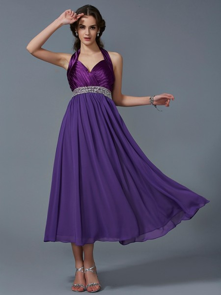 A-Line/Princess Chiffon Halter Beading Ankle-Length Sleeveless Bridesmaid Dresses