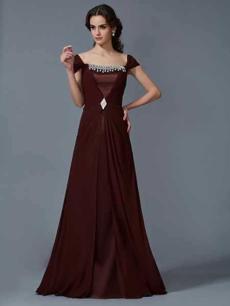 A-Line/Princess Strapless Short Sleeves Chiffon Floor-Length Dresses
