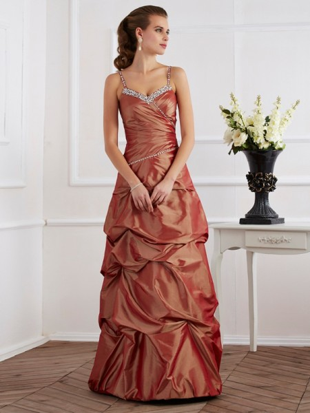 Sheath/Column Taffeta Spaghetti Straps Sleeveless Floor-Length Beading Dresses