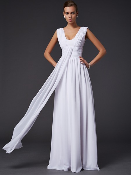 A-Line/Princess Chiffon Jewel Sleeveless Pleats Floor-Length Dresses