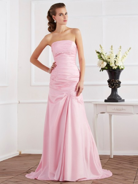 Trumpet/Mermaid Taffeta Beading Strapless Sweep/Brush Train Sleeveless Dresses