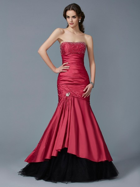Trumpet/Mermaid Taffeta Strapless Sleeveless Beading Floor-Length Dresses