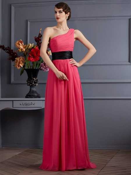 A-Line/Princess Chiffon One-Shoulder Sweep/Brush Train Pleats Sleeveless Dresses