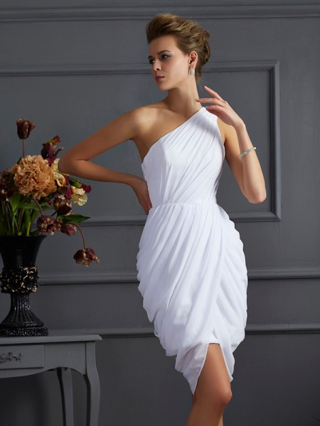Sheath/Column One-Shoulder Sleeveless Pleats Chiffon Short/Mini Dresses
