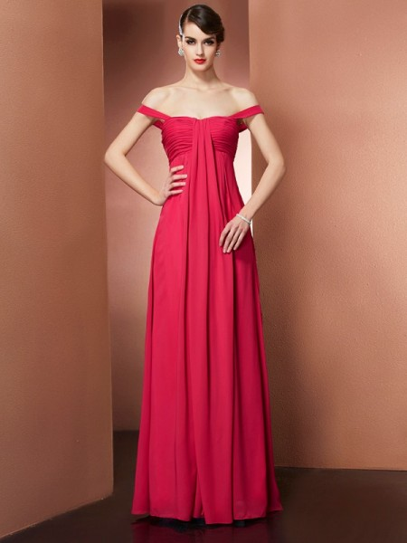 A-Line/Princess Chiffon Beading Off-the-Shoulder Sleeveless Floor-Length Dresses