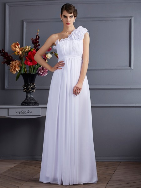 A-Line/Princess One-Shoulder Chiffon Sleeveless Floor-Length Applique Bridesmaid Dresses