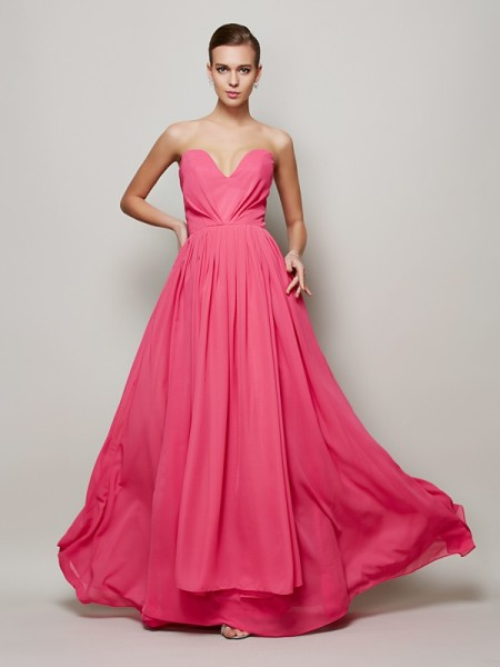 A-Line/Princess Sweetheart Pleats Chiffon Floor-Length Sleeveless Dresses