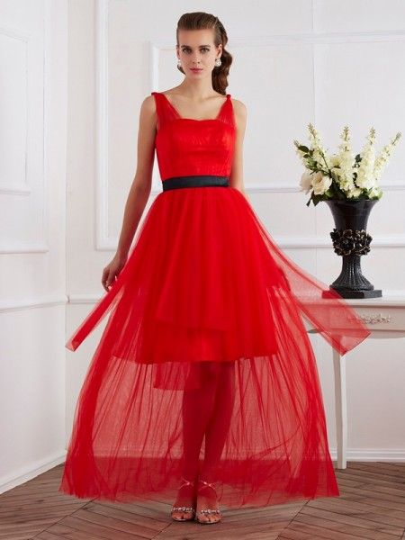 A-Line/Princess Straps Elastic Woven Satin Pleats Sleeveless Ankle-Length Dresses