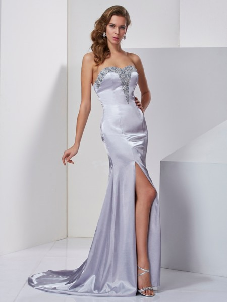 A-Line/Princess Elastic Woven Satin Sweetheart Sleeveless Beading Sweep/Brush Train Dresses