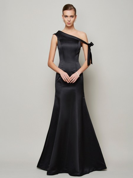 Trumpet/Mermaid Satin One-Shoulder Sleeveless Floor-Length Bowknot Dresses