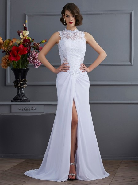 Sheath/Column Chiffon High Neck Sleeveless Sweep/Brush Train Dresses