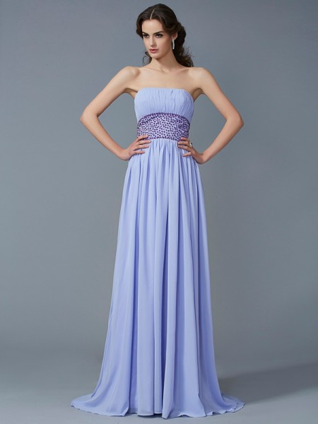 A-Line/Princess Strapless Sleeveless Beading Chiffon Sweep/Brush Train Dresses