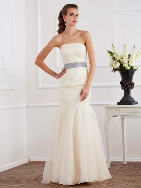 Trumpet/Mermaid Organza Sash/Ribbon/Belt Strapless Floor-Length Sleeveless Dresses