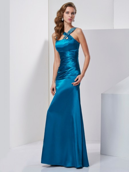 Sheath/Column Silk like Satin Beading Straps Sleeveless Floor-Length Dresses