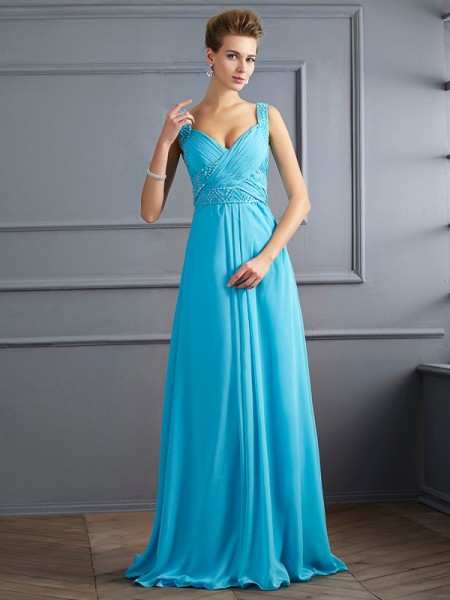 A-Line/Princess Chiffon Straps Sleeveless Floor-Length Pleats Dresses
