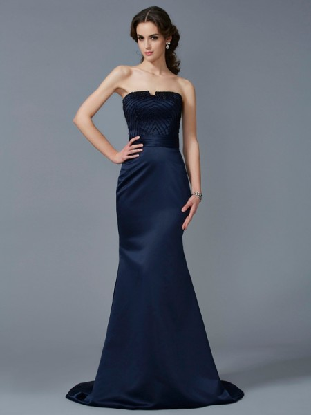 Trumpet/Mermaid Satin Strapless Sleeveless Sweep/Brush Train Beading Dresses