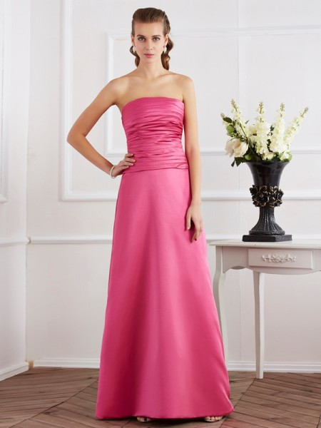 Sheath/Column Satin Strapless Sleeveless Pleats Floor-Length Dresses